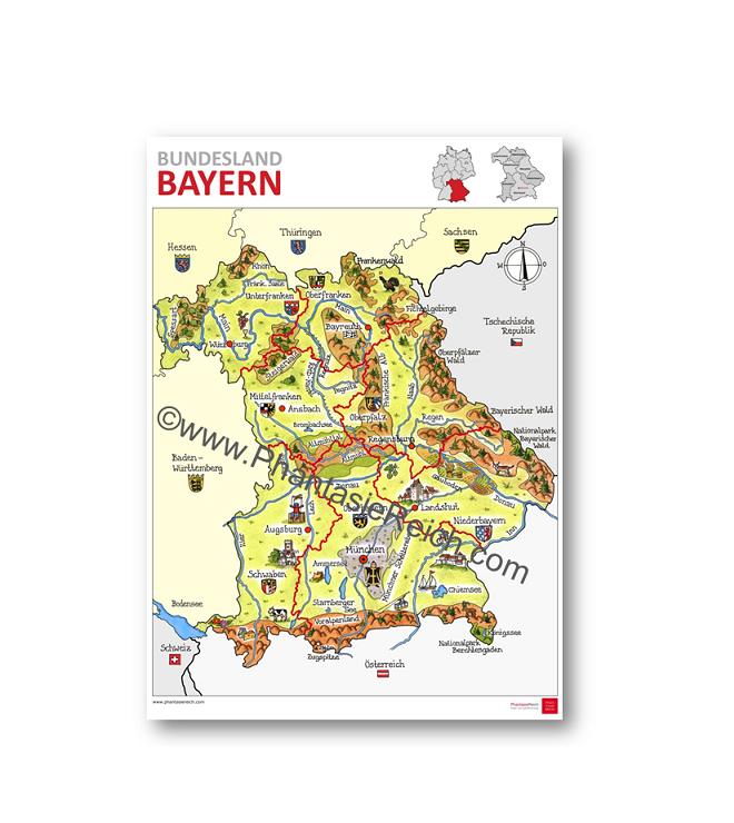 Bayern Karte Flüsse.Plakat Bayern